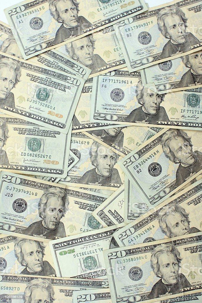 U.S. Twenty Dollar Bill Wallpaper Pattern - Vertical Background royalty-free stock photo