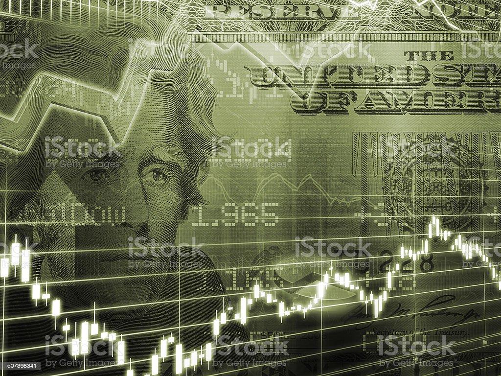 Twenty Dollar Bill with Stock Market Graph stock photo