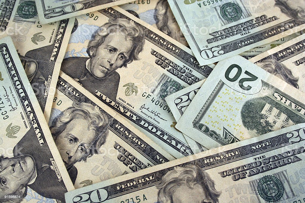 Twenty Dollar bills background texture royalty-free stock photo