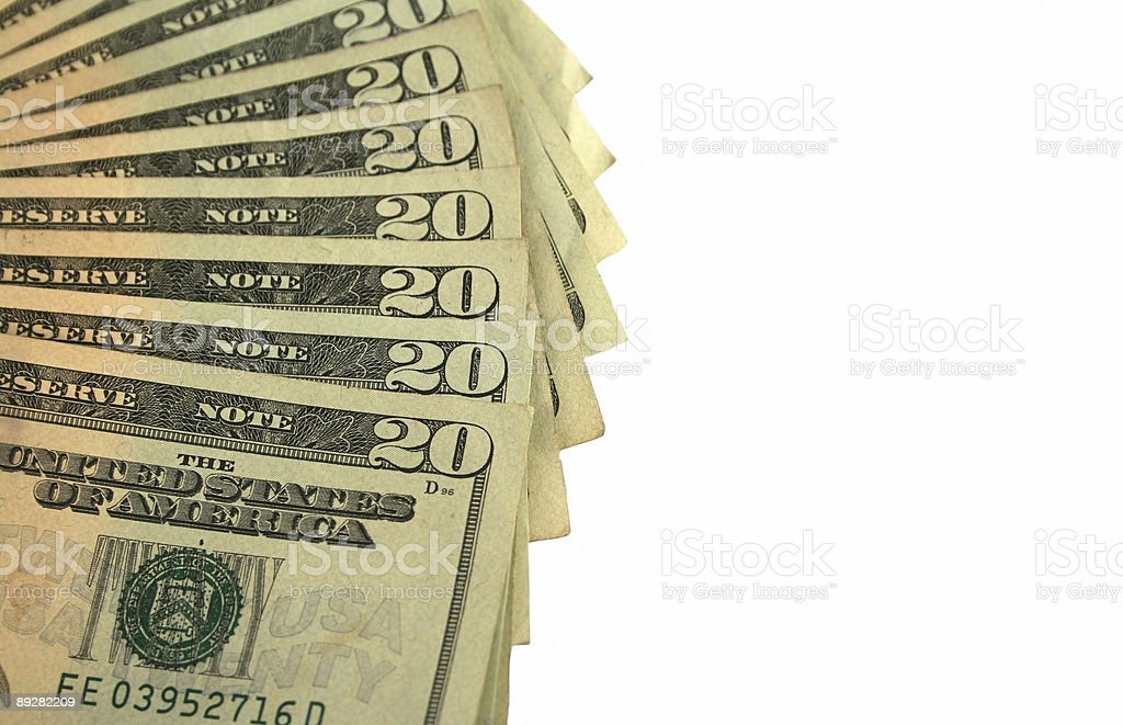 Twenty Dollar bills fanned out royalty-free stock photo