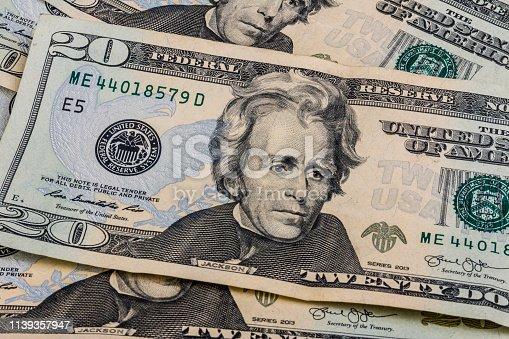 istock Twenty Dollar Bills for Abstract Background II 1139357947