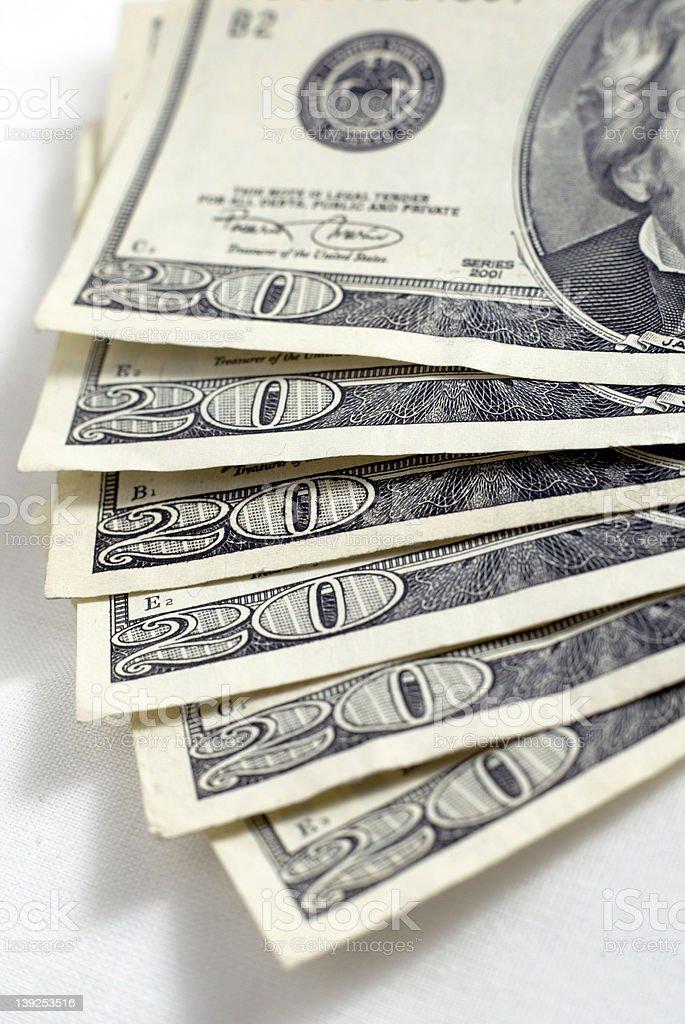 6 Twenty Dollar Bills stock photo