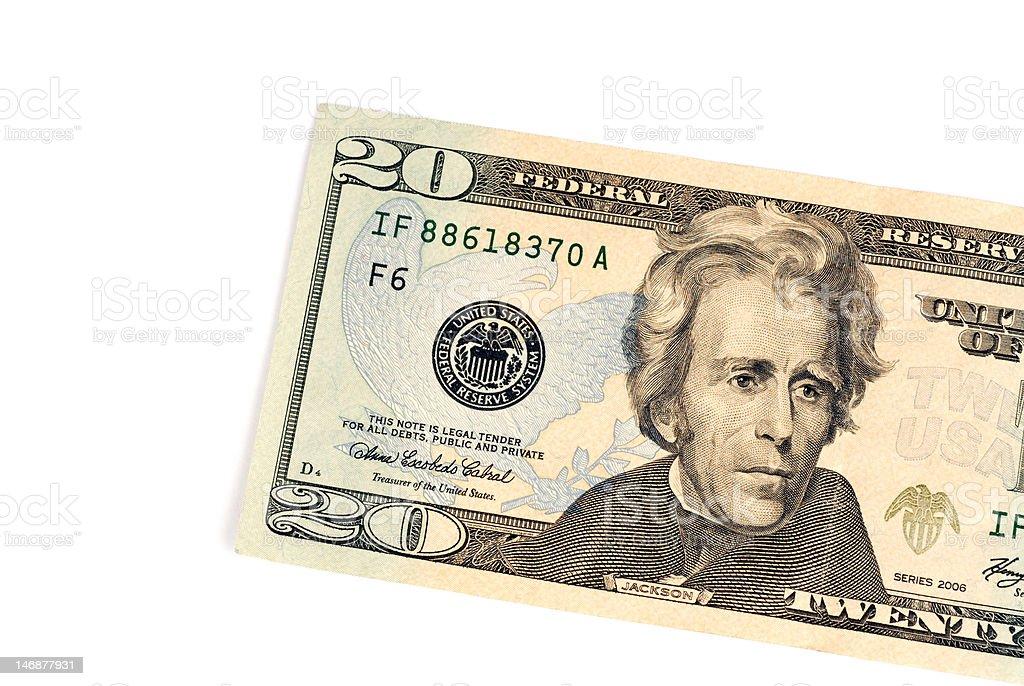 Twenty Dollar Detail stock photo