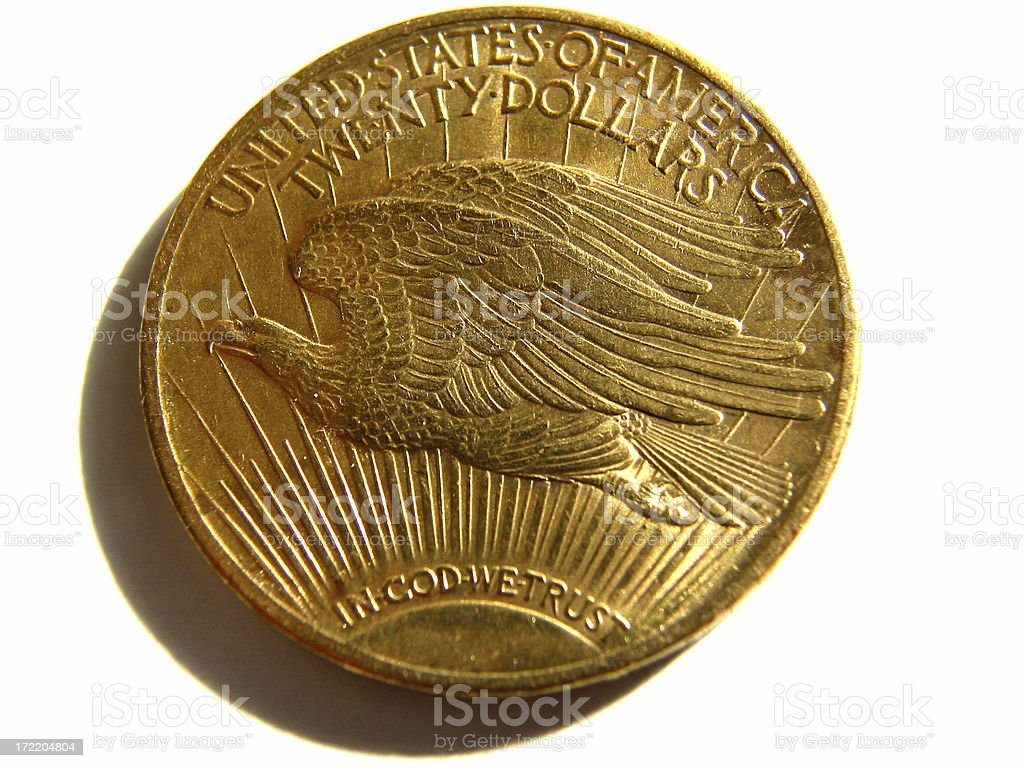 Twenty Dollar Gold Coin with Flying Eagle stock photo