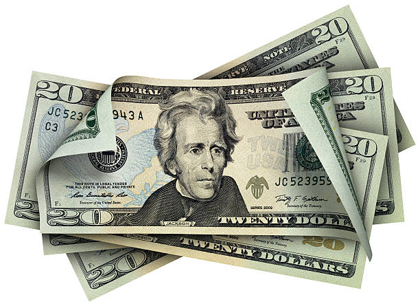 twenty dollars banknotes - number 20 stock photos and pictures