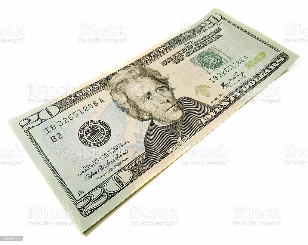 Twenty dollars bill royalty-free stock photo