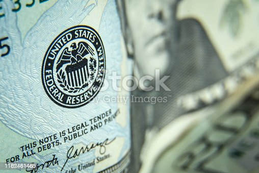Close up shot of twenty dollars bills - US paper currency