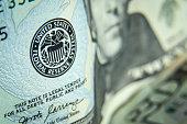 Close up shot of twenty dollars bills - US paper currency