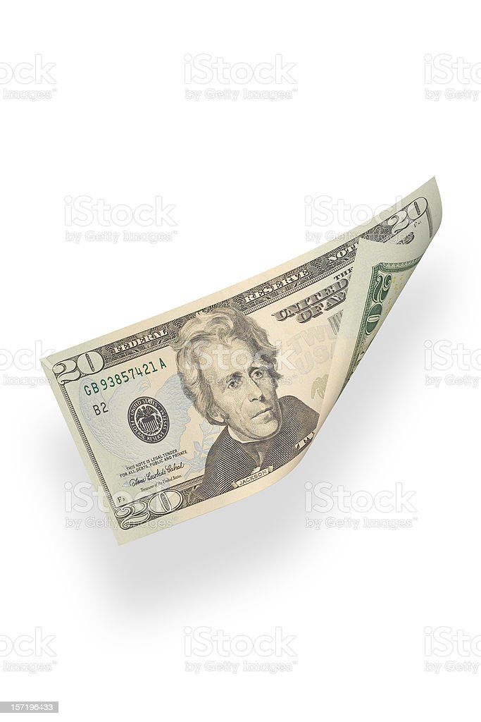Twenty Dollars (isolated) royalty-free stock photo