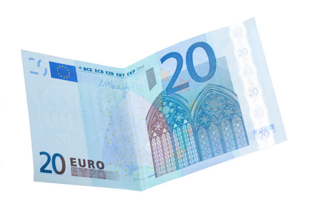 twenty euro banknotes isolated stock photo