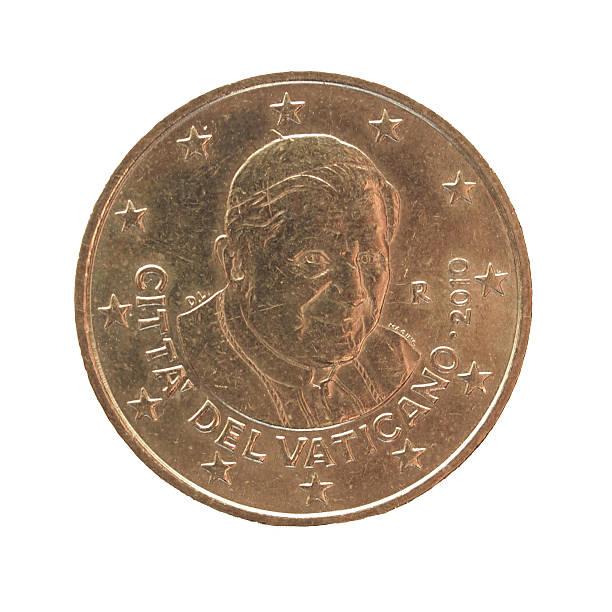 venti centesimi di euro moneta - ratzinger foto e immagini stock