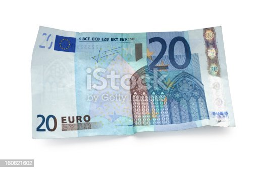 twenty euro note with a drop shadow isolated on white - clipping path (without shadow) includet