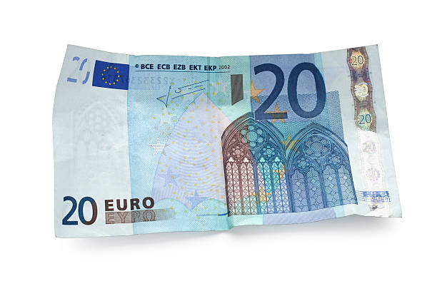 twenty euro note isolated on white twenty euro note with a drop shadow isolated on white - clipping path (without shadow) includet euro symbol stock pictures, royalty-free photos & images