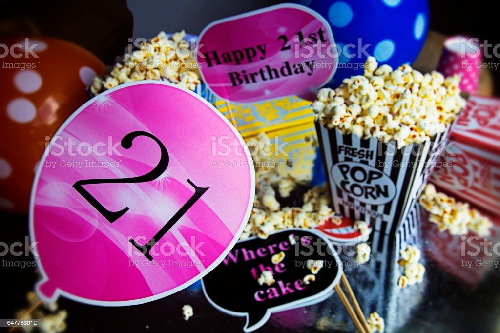 21. Geburtstag mit popcorn – Foto