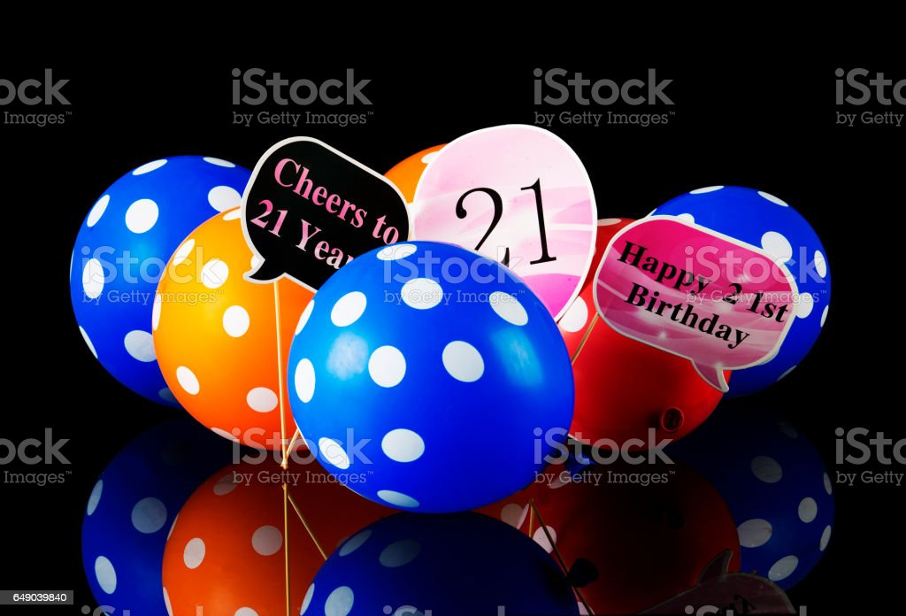Twenty first bithday with balloons stock photo