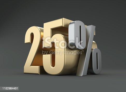 istock Twenty Five Percent - 3D Rendered Image 1152984451