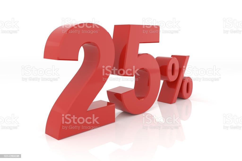 Twenty five percent. 3D rendering. stock photo