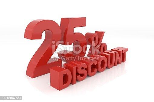 istock Twenty five percent discount. 3D rendering. 1012867334