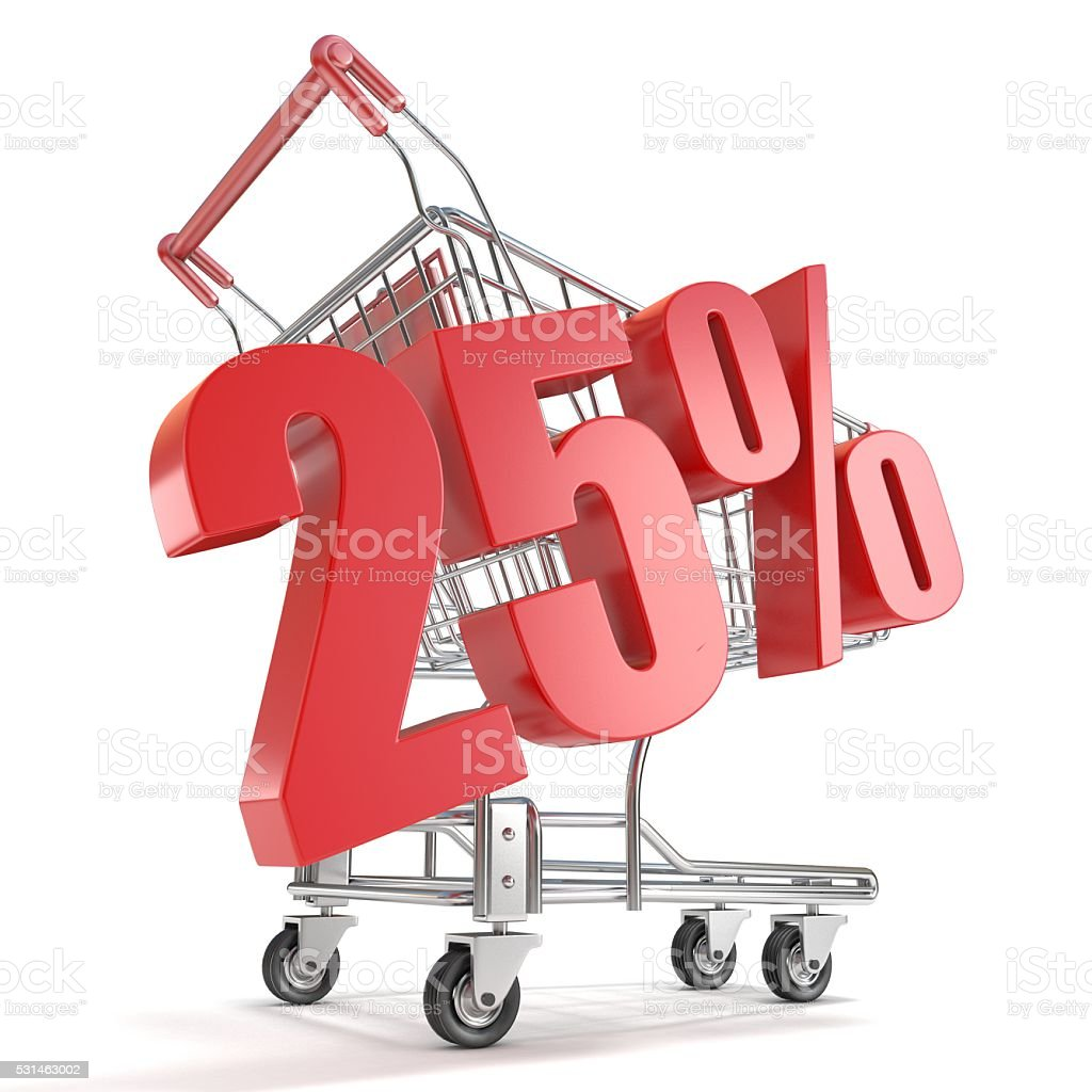 25% - twenty five percent discount and shopping cart stock photo