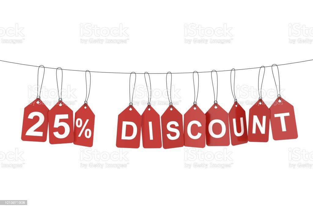 Twenty five percent discount tag. 3D rendering. stock photo