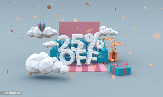 istock Twenty five percent off 3d illustration in cartoon style. Discount concept. 1182535075