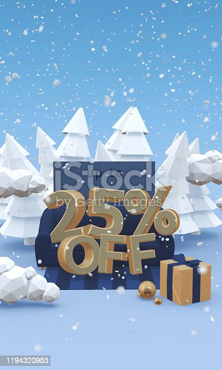1166441358 istock photo 25 twenty five percent off - 3d illustration with copy space in cartoon style. Christmas discount, winter sale concept. 1194320953