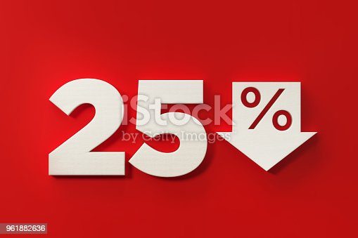 White twenty five percent off discount symbol on red background. Horizontal composition with  copy space.