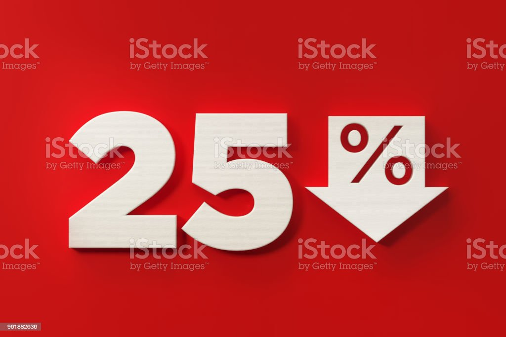 Twenty Five Percent Off Discount Symbol On Red Background stock photo