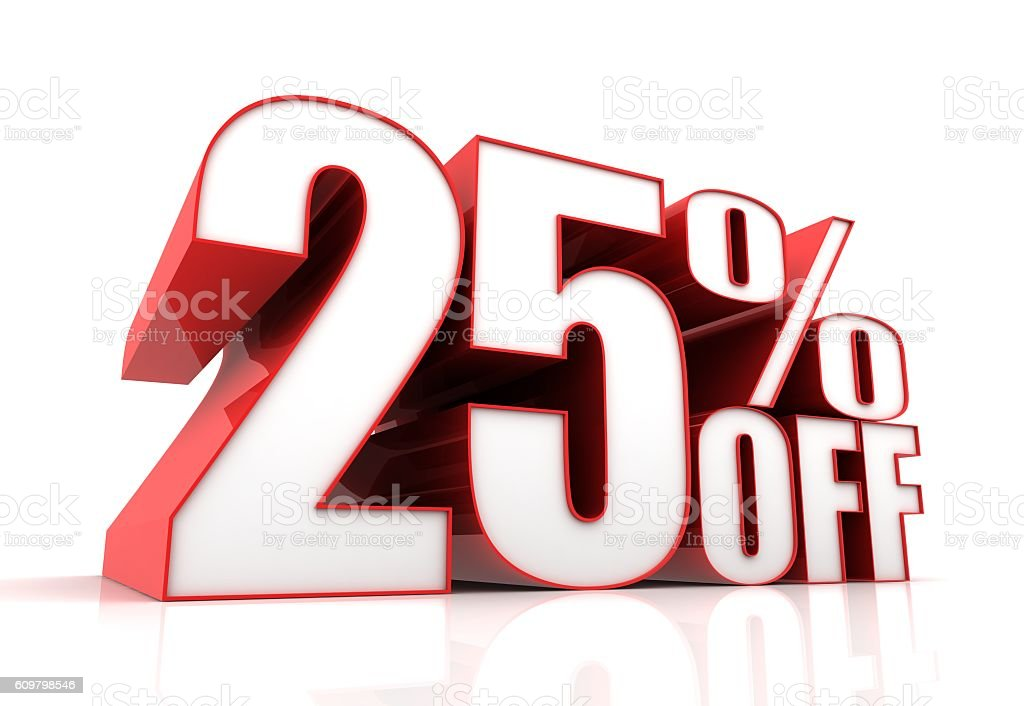 twenty five percent off sale concept illustration stock photo