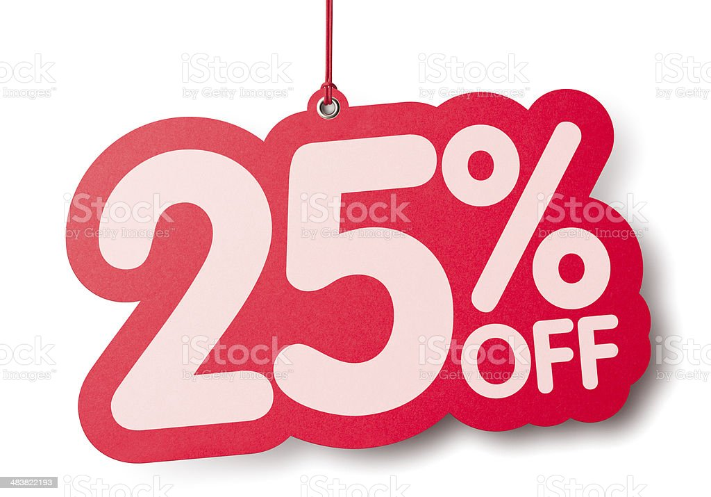 Twenty five percent off shaped price label stock photo