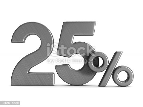 istock twenty five percent on white background. Isolated 3D illustration 918015436
