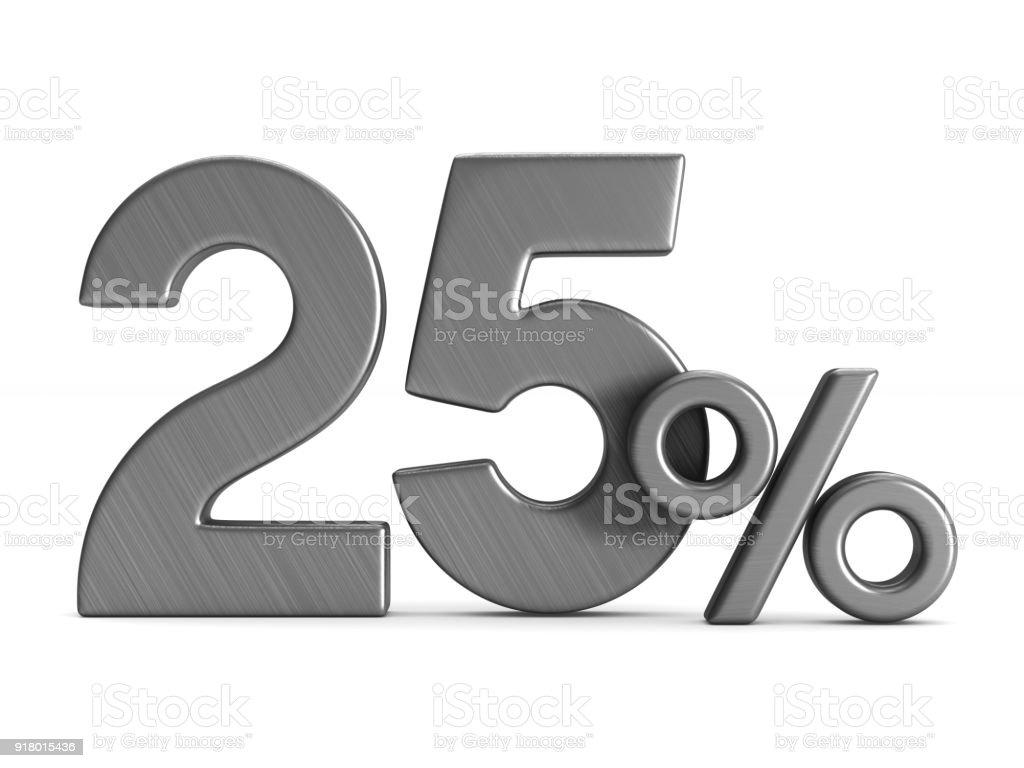fünfundzwanzig Prozent auf weißem Hintergrund. Isolierte 3D-Illustration – Foto