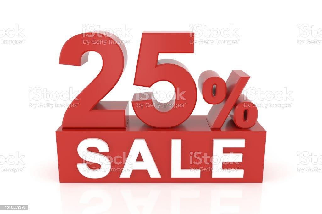 Twenty five percent sale. 3D rendering. stock photo