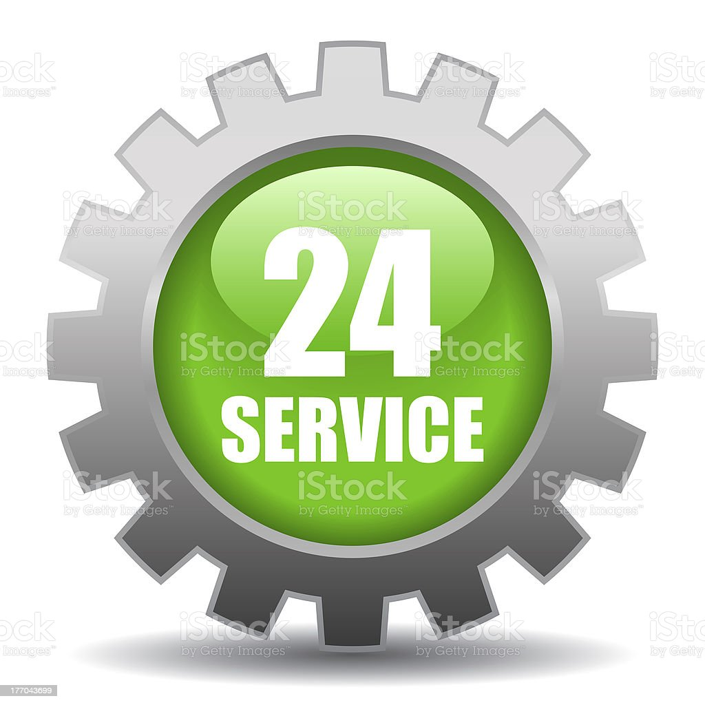 Twenty four hour service sign stock photo