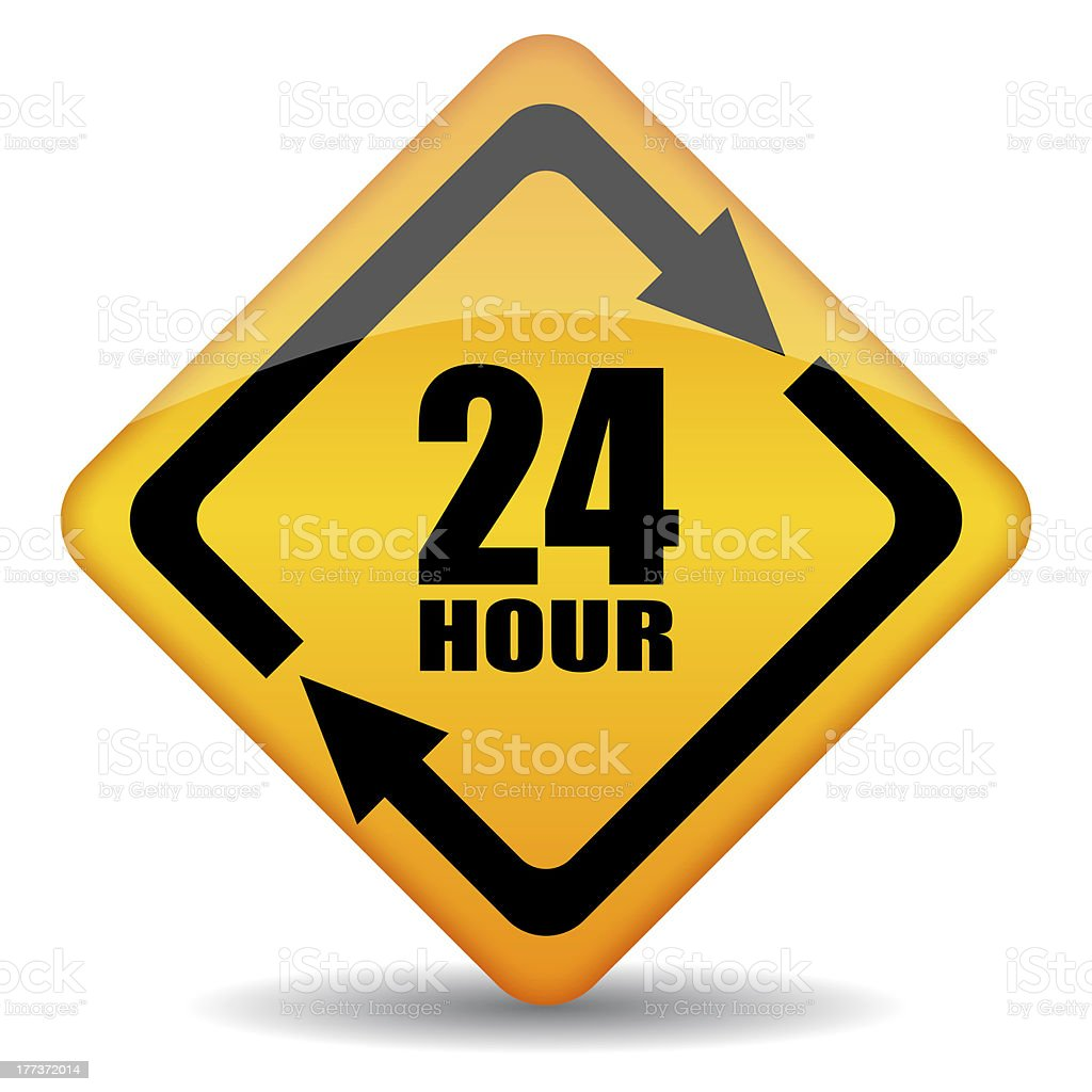 Twenty four hour sign stock photo