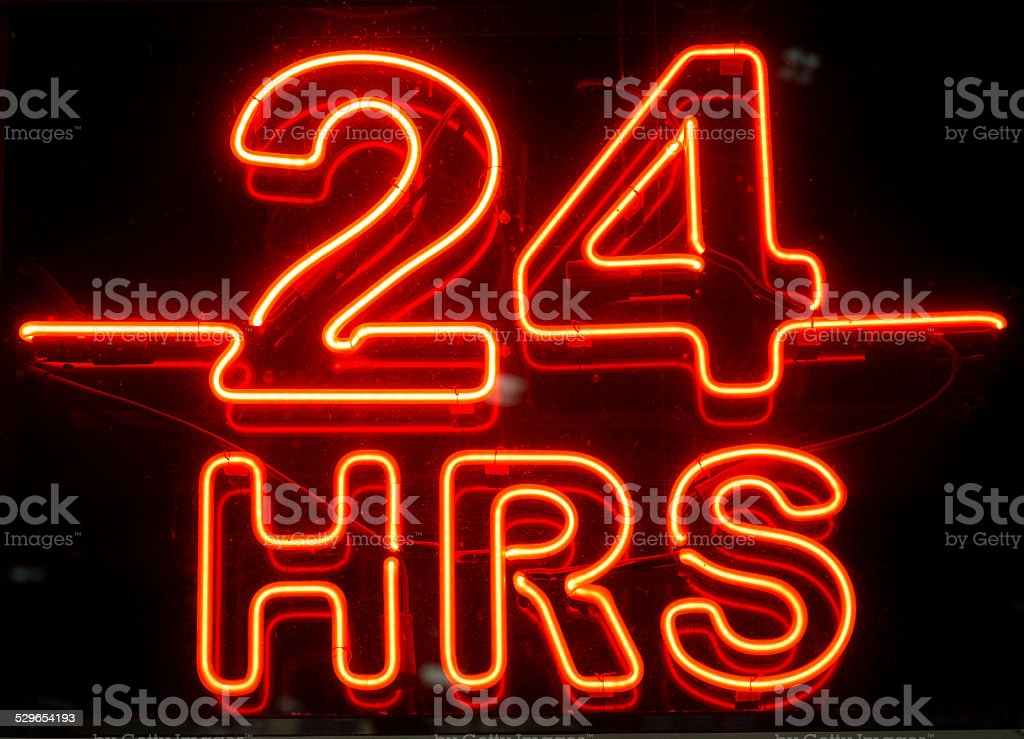 Twenty Four Hours Sign stock photo