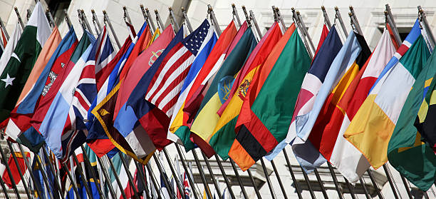 Twenty Four Nations Close-up of 24 national flags. XLClick for more flags. national flag stock pictures, royalty-free photos & images