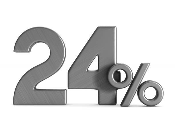 vingt-quatre pour cent sur fond blanc. illustration 3d isolée - nombre 24 photos et images de collection