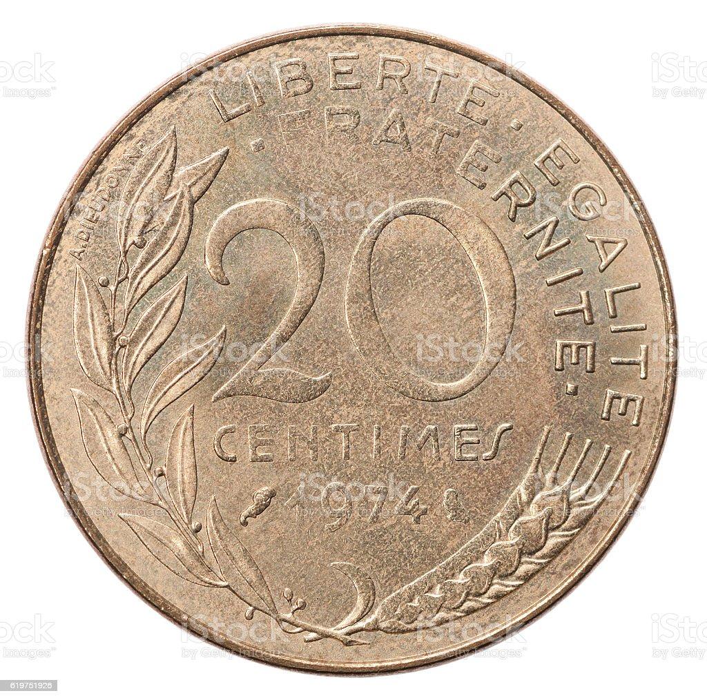 Twenty French centimes stock photo