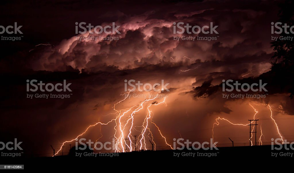 Twenty Lightning Bolts In One Frame stock photo