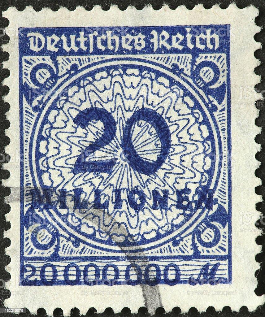 twenty million Mark stamp royalty-free stock photo