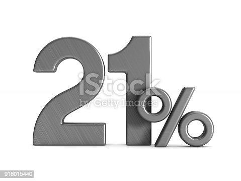 istock twenty one percent on white background. Isolated 3D illustration 918015440