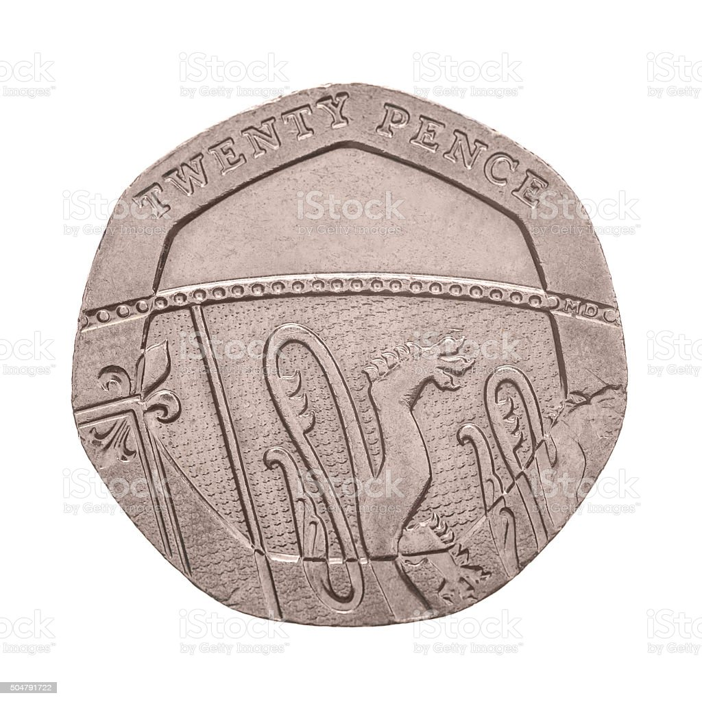 Twenty Pence coin isolated stock photo