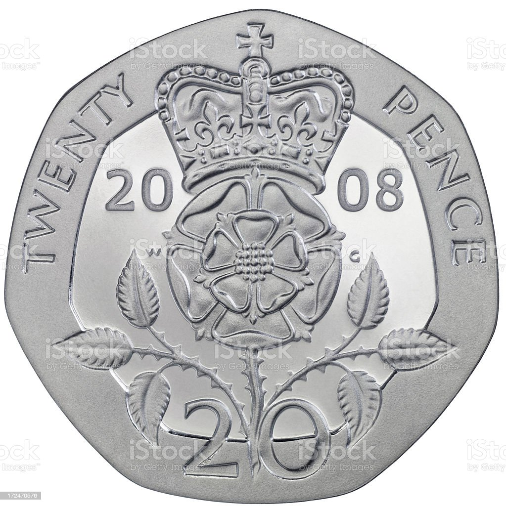 Twenty Pence Coin stock photo