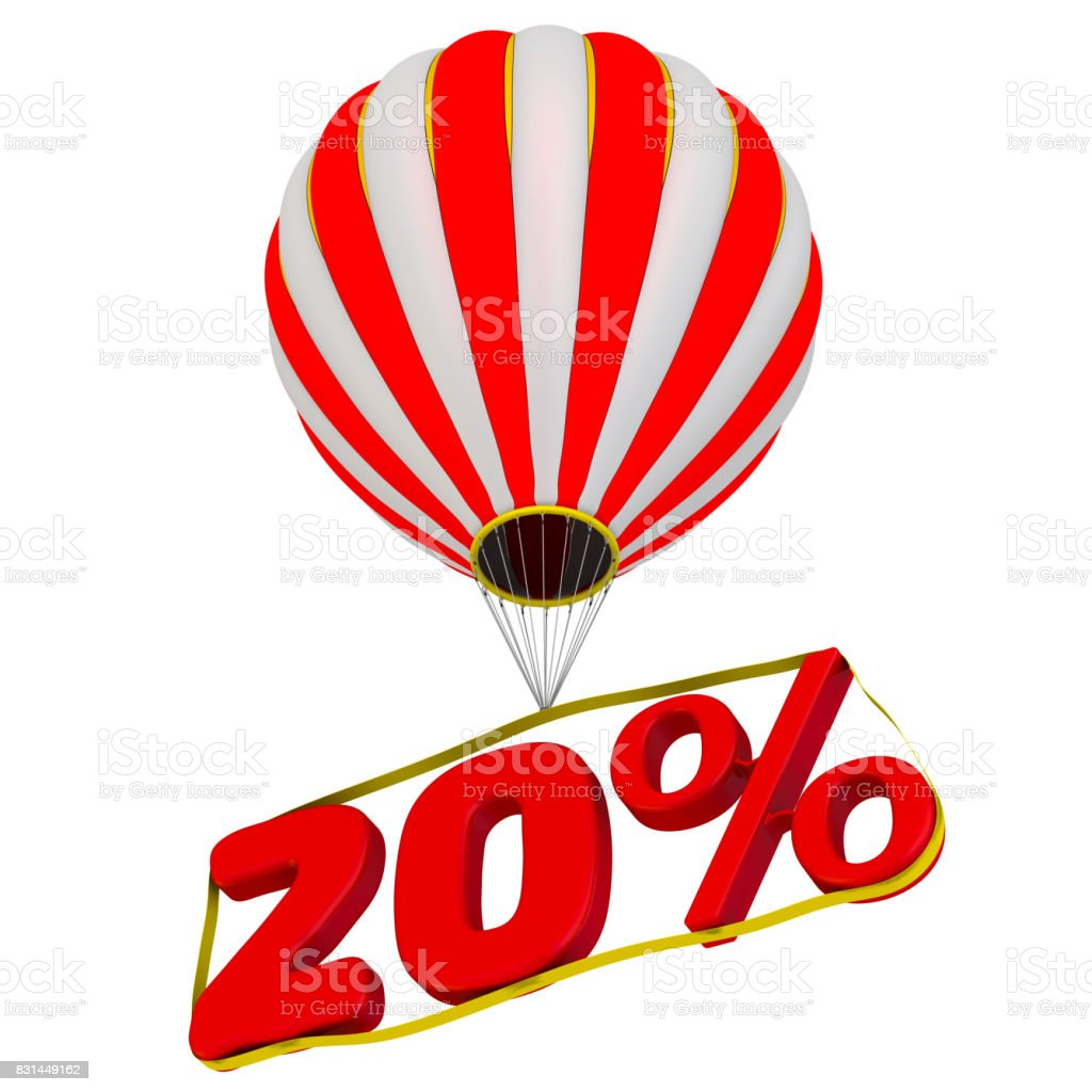 Twenty percent flies in a hot air balloon stock photo