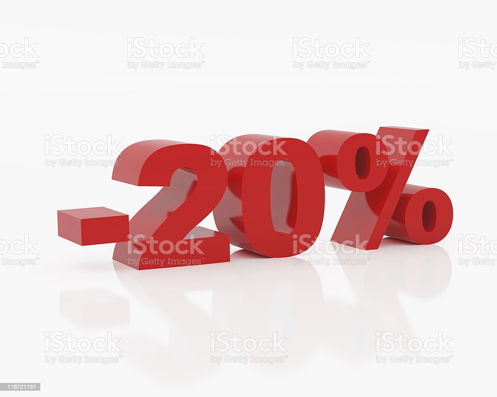 Twenty percent of red color royalty-free stock photo