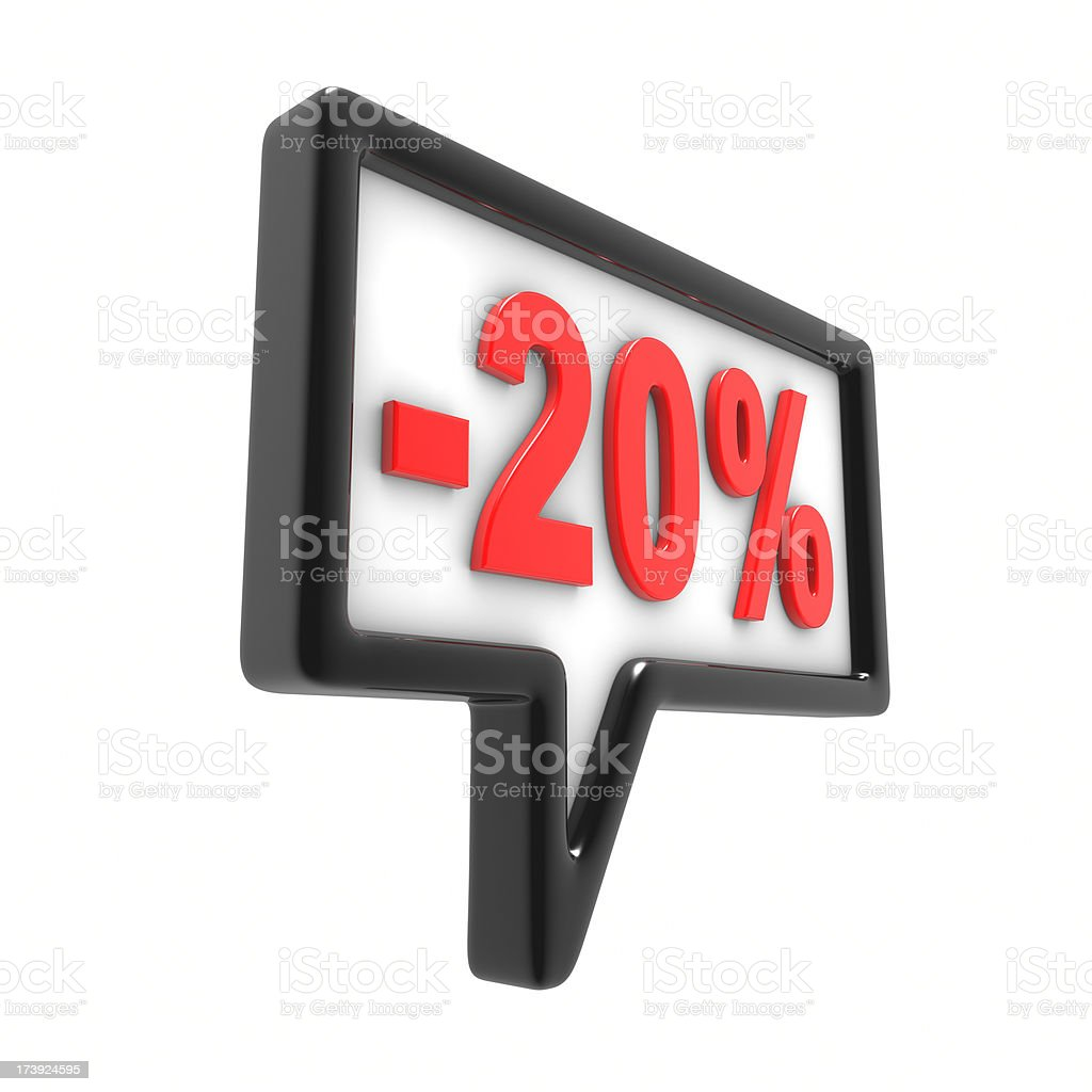 Twenty Percent Off Announcement royalty-free stock photo