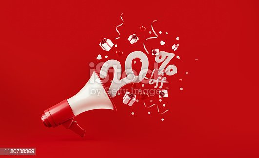 Twenty percent off coming out of a megaphone with gift boxes paper confetti and party streamers falling on red background, Great use for party and holidays concepts.