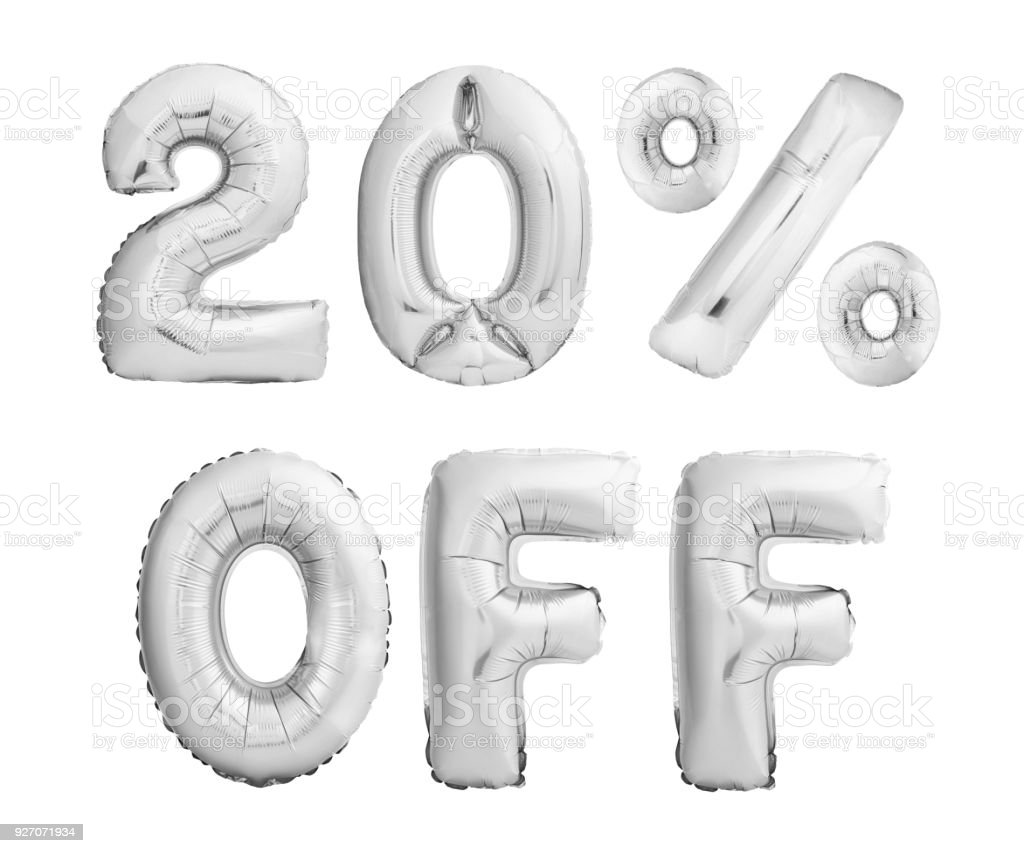 Twenty percent off discount. Silver balloons isolated on white stock photo