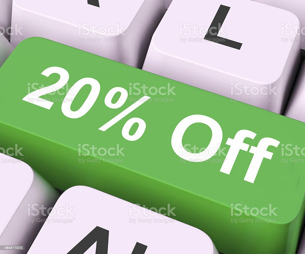 Twenty Percent Off Key Means Discount Or Sale stock photo